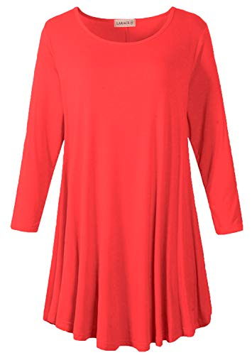 (LARACE Women 3/4 Sleeve Tunic Top Loose Fit Flare T-Shirt(L, Red))