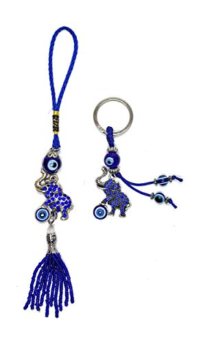 Evil Elephants (Bravo Team Lucky Elephant and Evil Eye Good Luck Keychain & Hanging Ornament for Protection, Blessing, and Strength with Rhinestone Crystals, Pendant Decoration for Car, Home and Office Great Gift)