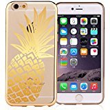 iPhone 7 , Colorful Rubber Flexible Silicone Case Bumper for Apple Clear Cover - Gold Pineapple Overload