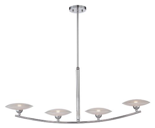 Lite Source LS-19564 Island Pendant with Frosted Glass Shades, Chrome Finish by Lite Source
