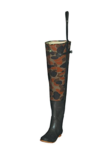 Pro Line Men's Deluxe Canvas Hip Wader, Brown Camouflage, Size 7 (Rubber Steel Hip Toe Boots)