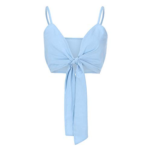 Summer Tops for Women 2019 Prime Tronet Women Summer Solid V-Neck Sleeveless Bow Bandage Backless Strap Camis Crop Top