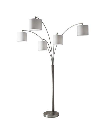 Adesso 4239-22 Trinity 5-Arm Arc Lamp- Steel 2 Box, Satin