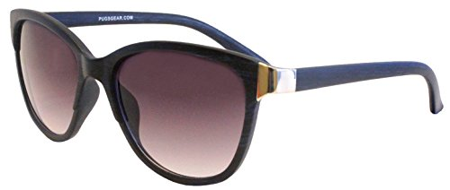 Women's Cat-Eye Style Fashion Sunglasses by Pugs - 100% UV Blocking Sunglasses (Dark Blue Wood Grain, - Blocking Uv Sunglasses