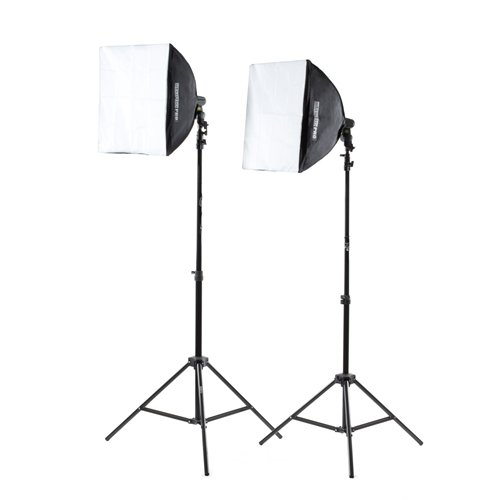 Fovitec - 2x 20''x20'' EZ Setup Softbox Studio Video Photography Lights w/1000 Watt Equivalent Total Output - [Auto Pop-Up][Continuous][105W Bulbs] by Fovitec