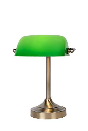 Lucide 17504/01/03 - Lampara de escritorio tipo banquero (E14) con pantalla de cristal, color verde
