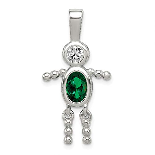 925 Sterling Silver Cubic Zirconia Cz May Glass Boy Pendant Charm Necklace Birthstone Kid Fine Jewelry Gifts For Women For Her