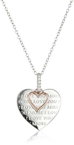 Sterling Silver, 10k Rose Gold, and Diamond ''I Love You More'' Pendant Necklace by Amazon Collection