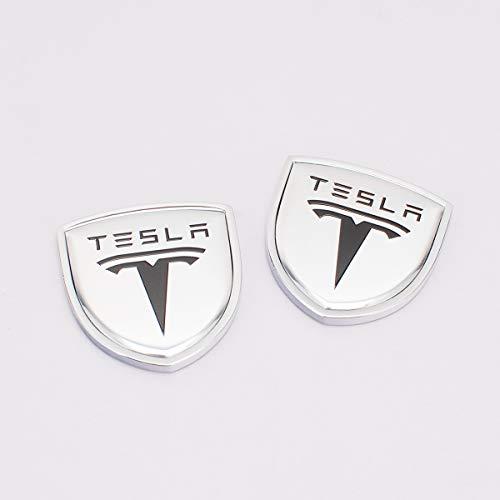 Zhmyyxgs 2 Pcs Shield Refit Logo Auto Car Rear Side Fender Stickers Metal Decorative Logo Emblems Badge Logo Accessories for Tesla