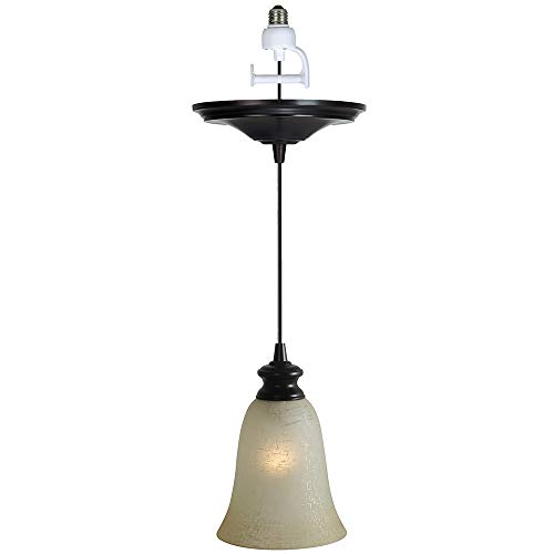 Worth Brushed Bronze Finish with Linen Glass Instant Pendant Light Conversion Kit -DISCONTINUED