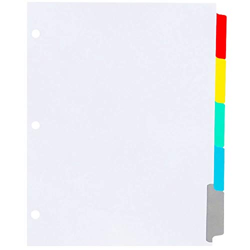 AMZfiling Never-Jam Custom Blank Copier Tabs with Printable Mylar- 5 Colored Tab Dividers, 1/5 Cut, Reverse Collated, 3 Hole Punched (1250/Carton)