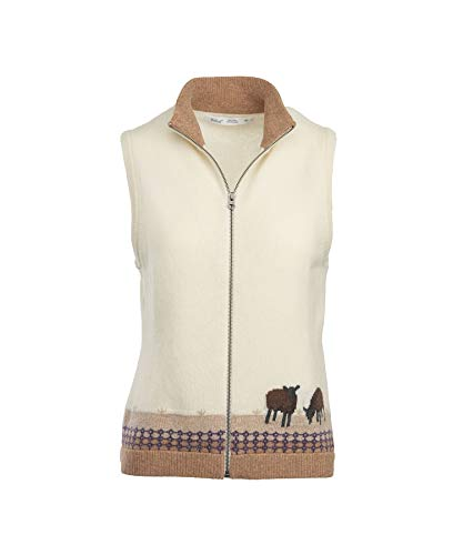 (Woolrich Women's Grazing Sheep Lambswool Sweater Vest, Wool Cream Multi (Beige), Size S)