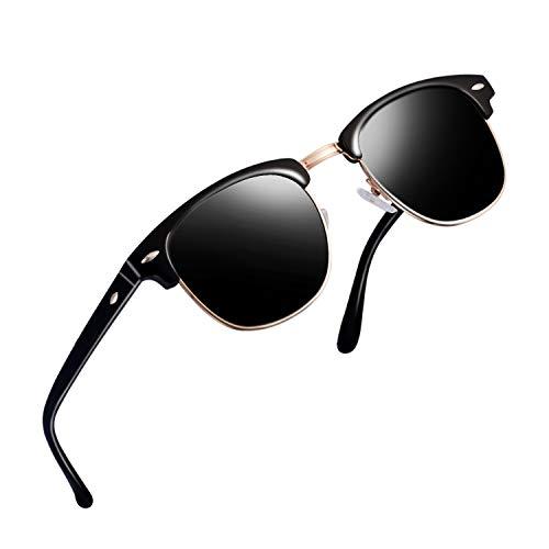 (Semi Rimless Clubmaster Sunglasses for men- Half Frame Polarized Classic With Box FEIDU FD4003 (bright/BLACK, 2.04))