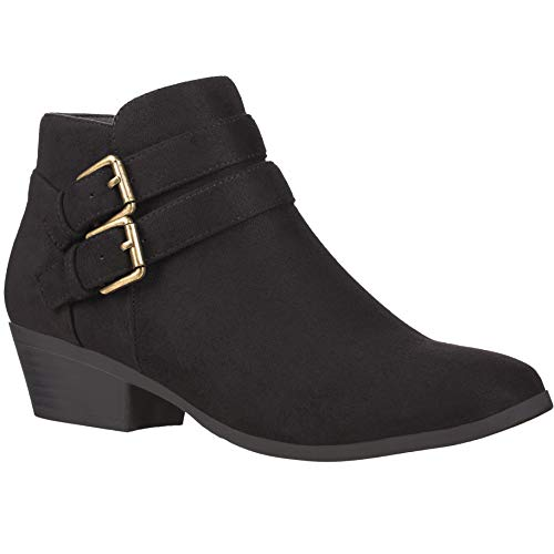 Platform Stack Heel Boots (ILLUDE Women's Western Almond Round Toe Slip on Bootie - Low Stack Heel - Zip Up - Casual Ankle Boot (11 M US, Black))