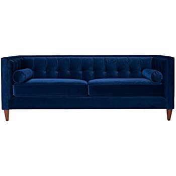 Jennifer Taylor Home Jack Collection Modern Velvet Upholstered Tufted Square Back Sofa with 2 Bolster Pillows and Hand Finished Legs, Navy