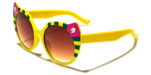 Girls Kitty Cat Cateye Colorful Fashion Plastic Frame Sunglasses (Yellow, - Cat Kitty Sunglasses