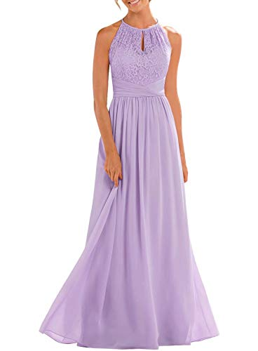 Firose Bridesmaid Dresses Long Halter High Neck A-line Chiffon Floor-Length Maid of Honor Dress for Women Lavender