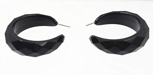 Shape Plastic Earrings - Plastic Hoop Earrings,Faceted Shape Hoop Earrings for Women (Black)-Jewelry trends 2019