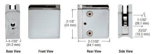 C.R. LAURENCE Z712BS CRL Brushed Stainless Z-Series Square Type Radius Base Stainless Steel Clamp for 1/2 Glass by C.R. Laurence -