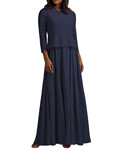 Plus Size Mother of The Bride Dresses Long Sleeves Chiffon Prom Dress Evening Gowns for Wedding Navy Blue US 26W