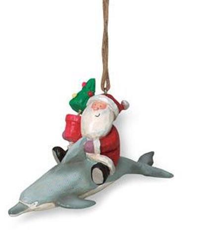 Cape Shore Jolly Santa Riding Dolphin Christmas Holiday Ornament