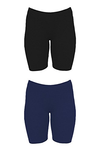 In Touch Womens Combed Cotton Basics 7 inch Bike Short (X-Large, 2 Pack Navy/Black) by In Touch