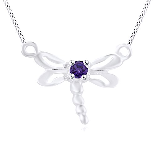 Wishrocks Simulated Amethyst Dragonfly Pendant Necklace 14K White Gold Over Sterling Silver ()