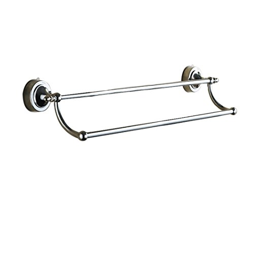Nibesser Suction Cup Double Towel Bar No Drill Contemporary Bathroom Accessory Clothes (Dual Towel Bar)