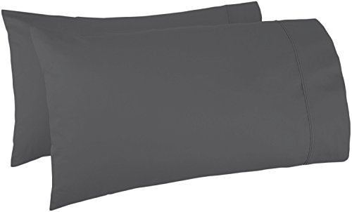 Thread Spread 100% Egyptian Cotton 1000 Thread Count Ultra Soft Pillow Case Set - Durable and Silky Soft (Standard Pillowcase) (Grey)