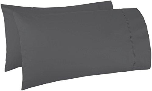 Linen Pillowcase - Mayfair Linen Pillow Case Set 500 Thread Count 100% Egyptian Cotton 2pc, Silky Soft & Durable (Standard, Dark Gray)