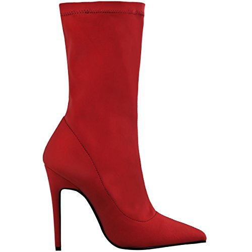 Toe Boots Thirsty Stiletto Stretch Ankle Lycra Heels Womens High Lycra Size Pointed Fashion Red 8wvqBafw