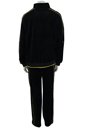 Mens Black Velour Tracksuit with Yellow Piping (Large) by Sweatsedo (Image #1)