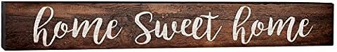 Home Sweet Home Script Design Brown 4 x 24 Inch Solid Pine Wood Barnhouse Block Sign - Sign Blocks Decor