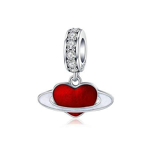 ANLW Love Planet Charms Beads 925 Sterling Silver Heart Pendant Birthday Gifts Fit European Pandora Bracelets Jewellery (725 Bracelet Sterling Silver Jewelry)
