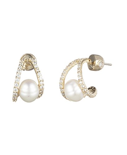 Carolee Women's Fresh Water Pearl Huggie Earring, Gold/White
