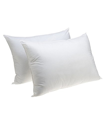 50% White Goose Feather - 50% White Goose Down and 50% White Goose Feather Pillow, White, Set of 2, (Queen)