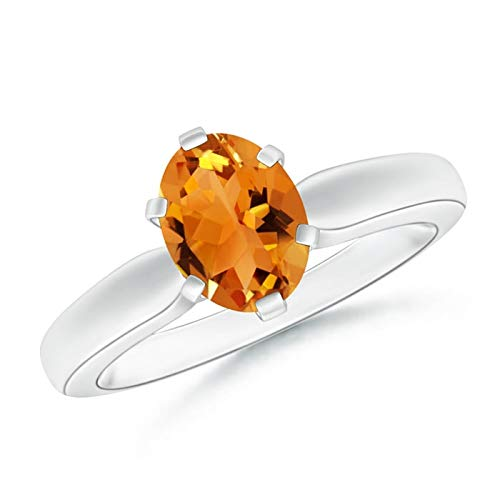 Tapered Shank Oval Solitaire Citrine Ring in Platinum (8x6mm Citrine)