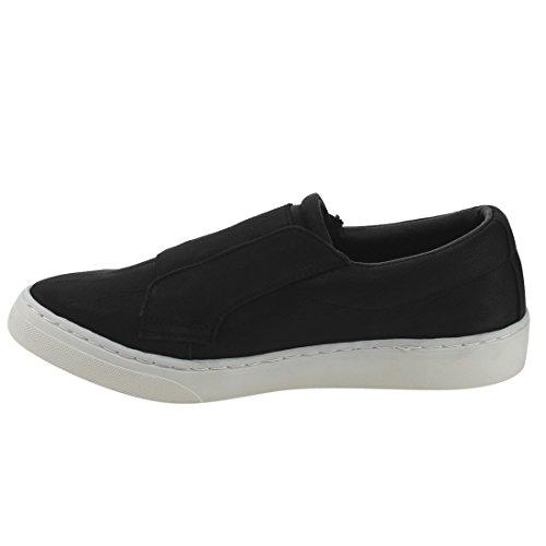 Soda Femmes Rondes Bout Fermé Stretch Slip-on Flatform Mode Sneaker Noir Nbpu