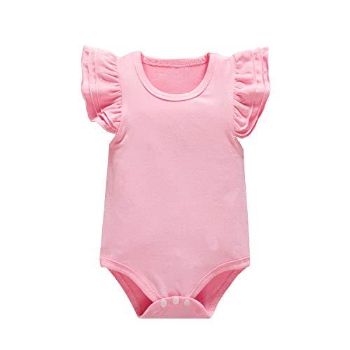 - Huata Baby Girls Onesies Bodysuit Baby Romper (Pink/Short, 18-24 Months)