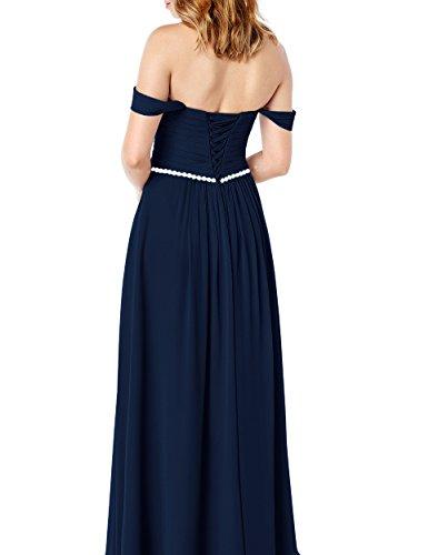 Chiffon Lovelybride Lange Brautjungfernkleid Navy Abendkleid A Elegant Linie Trägerlos 1qHSTf7F