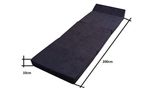 Natalia Spzoo Matelas lit Fauteuil futon Pliable Pliant Choix des Couleurs – Longueur 200 cm (0001-Noir)