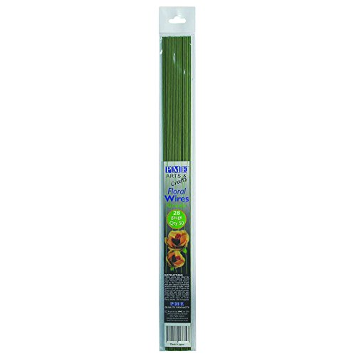 PME FW28 Wires for Gumpaste, Sugar Flowers & Crafts-Pack of 50-Green 28 Gauge, ()