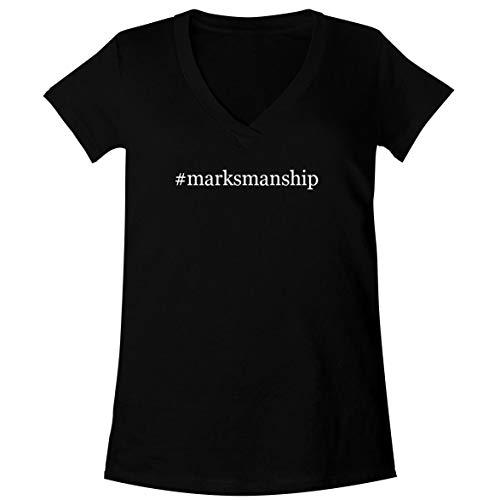 The Town Butler #Marksmanship - A Soft & Comfortable Women's V-Neck T-Shirt, Black, Medium