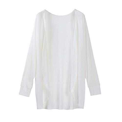 Murciélago Casuales Outwear Elegante Punto Mujer Blanco Joven Moda Battercake Mujeres Otoño De Manga Delgado Abrigos Irregular Unicolor Larga Chaqueta Mangas 6qOxPwOa