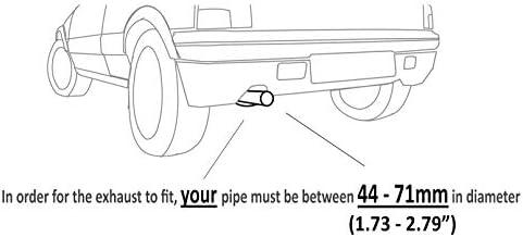Universal 674 - Silenciador de tubo de escape doble doble doble de acero inoxidable cromado
