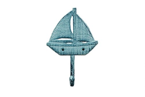 (Handcrafted Model Ships Rustic Dark Blue Whitewashed Cast Iron Sailboat Wall Hook 7