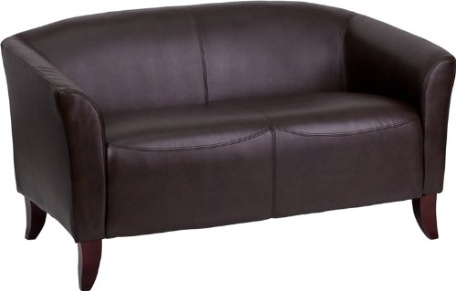 Emma + Oliver Brown Leather Loveseat with Cherry Wood Feet ()