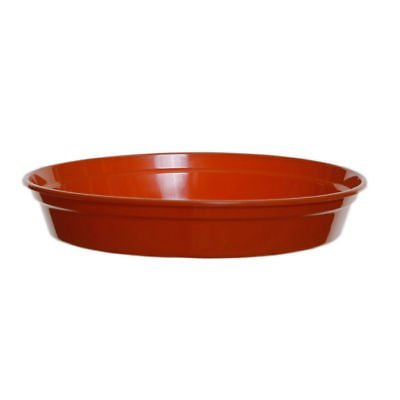 2 x Heavy Duty TERRACOTTA Small / Large Plastic Saucer Planter Plant Pot Saucers Water Tray Base (18cm) S&MC Gardenware