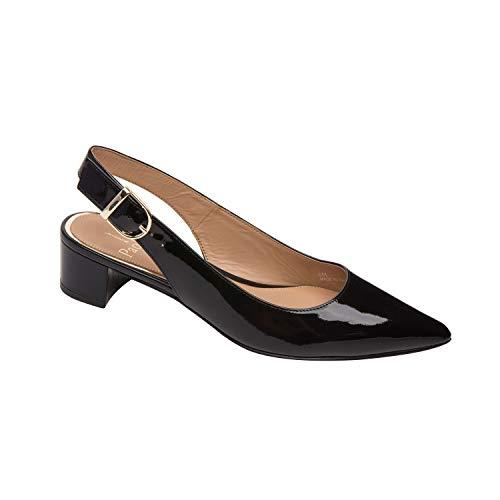Embossed Patent Pumps - Linea Paolo CELLA | Svelte Pointy Toe Block Heel Slingback Pump Black Patent 10M