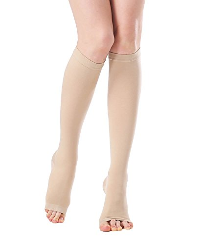 Unisex Medical Open Toe Knee High Compression Socks, Opaque Toeless 20-30mmhg Graduated Firm Support Hose for Nurse Pregnancy Flight - Edema Varicose Veins Compression Stockings (Beige, XX-Large) ()